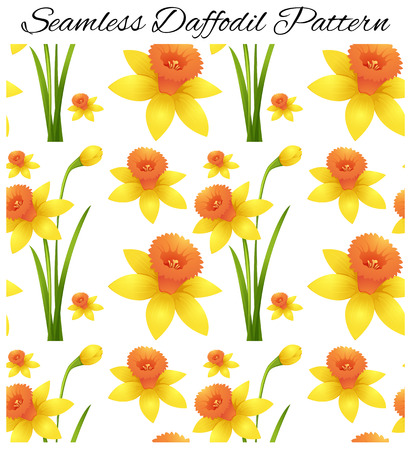 Seamless design with yellow daffodil flowers illustration Illustration