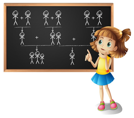 family: Little girl and family tree on the board illustration Illustration