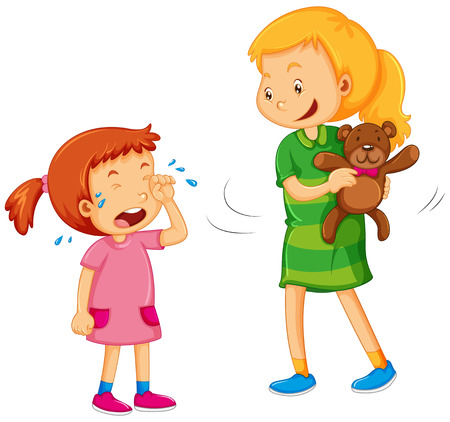 Big girl taking bear away from little girl illustration Иллюстрация