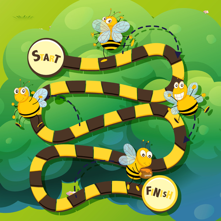 puzzle background: Game template wtih bee flying illustration