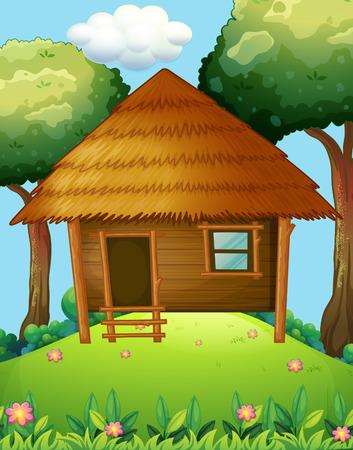 Houten cabine op de heuvel illustratie