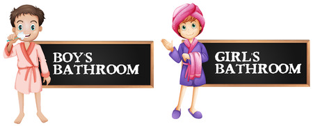 bathroom sign for boy and girl illustration stock vector 69835918 - Girl Bathroom Sign