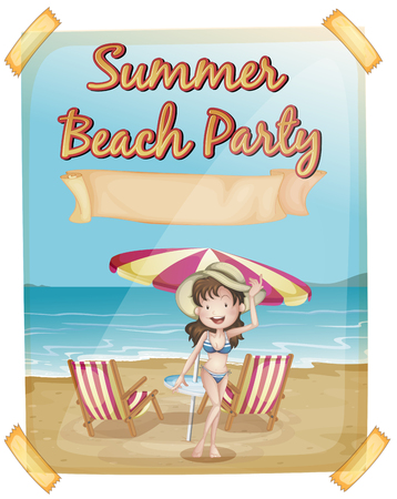 outdoor seating: Summer beach party poster with girl in bikini illustration