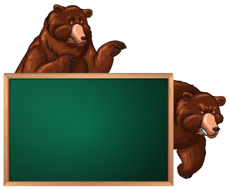 Board template with two bears illustration Illustration