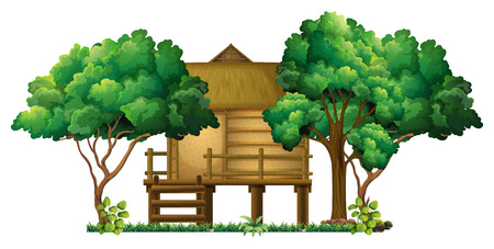 outside the house: Wooden hut in the woods illustration