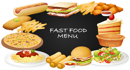 fastfood: Different kinds of fastfood on menu illustration