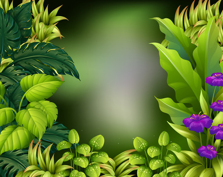 Design de bordure avec illustration de feuilles vertes