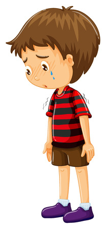 crying child: Sad boy with his head down illustration