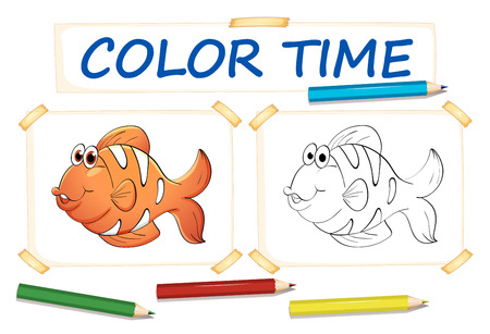 clownfish: Coloring template with clownfish illustration Illustration