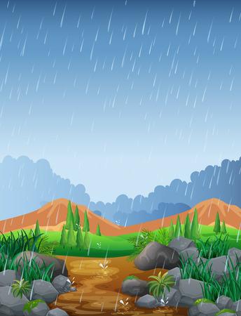 Scena con pioggia nell'illustrazione del campo