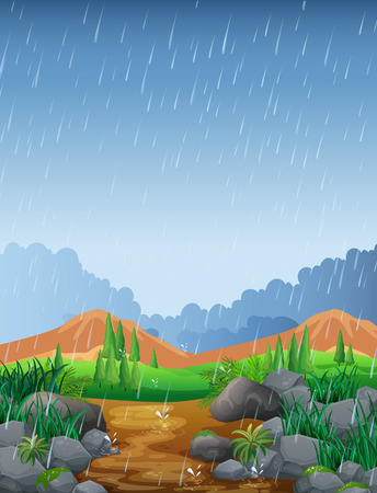 Scene with rainfall in the field illustration Stock fotó - 69835981