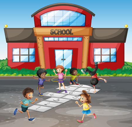 Students playing hopscotch at school illustration