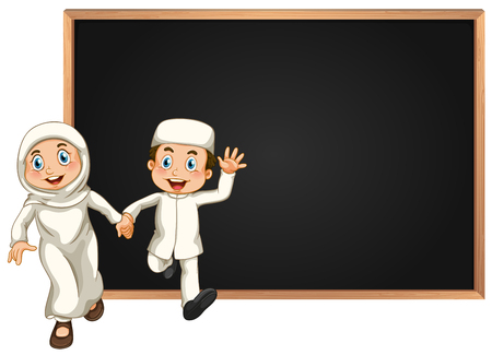 hands holding sign: Board template with muslim couple illustration Illustration