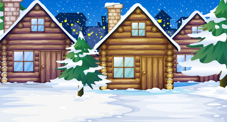 winter garden: Wood cabins in the snow illustration