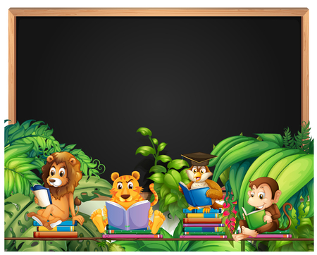 animals frame: Frame design with wild animals reading book illustration