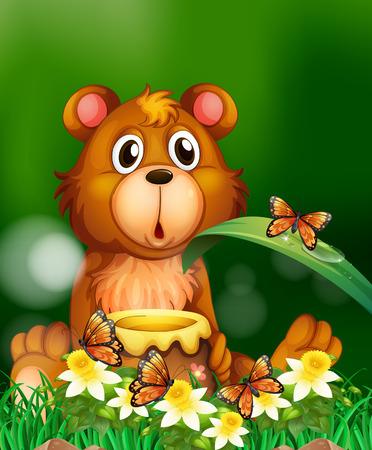 Orso sveglio con illustrazione del piatto di miele