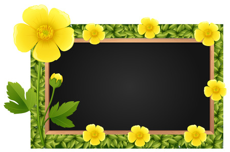 buttercups: Border template with yellow buttercups illustration