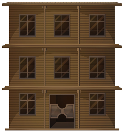wooden doors: Building made of wood in western style illustration