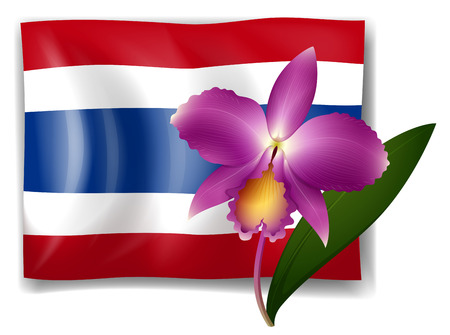 Purple orchid and Thailand flag illustration