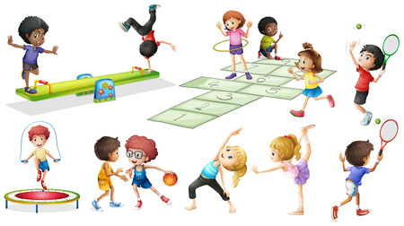 Children doing different sports and games illustration Illustration