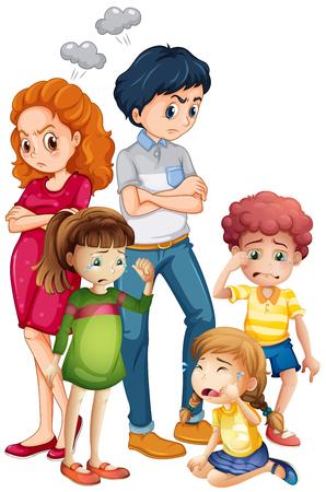 Family members in upset moods illustration