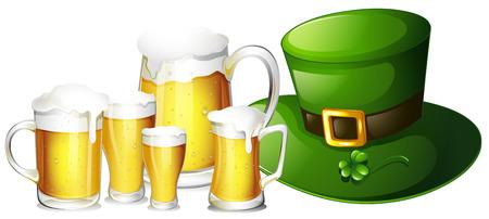 leprachaun: Fresh beer in glasses and green hat illustration Illustration