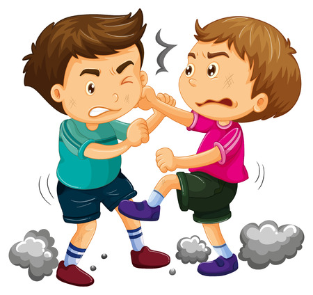Two young boys fighting  illustration Zdjęcie Seryjne - 69836110
