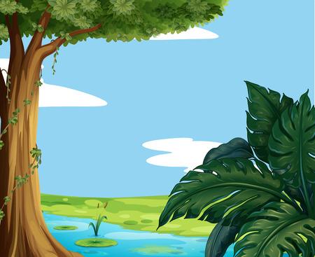 Scene with pond and big tree illustration Illustration
