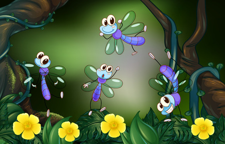 Dragonflies flying in the deep forest illustration