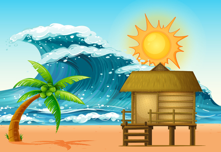 bungalow: Scene with cabin and big waves illustration