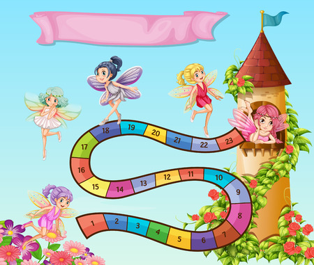 numbers clipart: Boardgame design with fairies flying in garden illustration Illustration