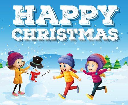 happy kids: Happy christmas with kids in snowfield illustration
