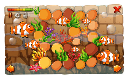 clownfish: Game template with clownfish swimming in background illustration