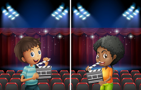 flapping: Scene with boy and girl with flapping board in theater illustration Illustration