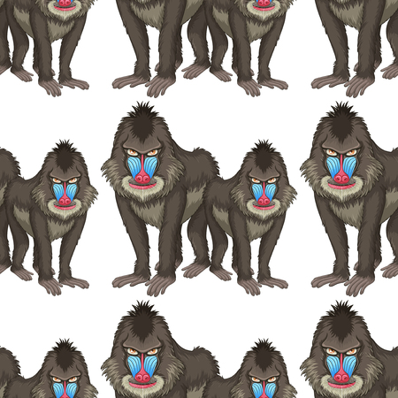 mandrill: Seamless background design with baboons illustration Illustration