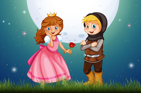 fantacy: Princess and knight in the field illustration