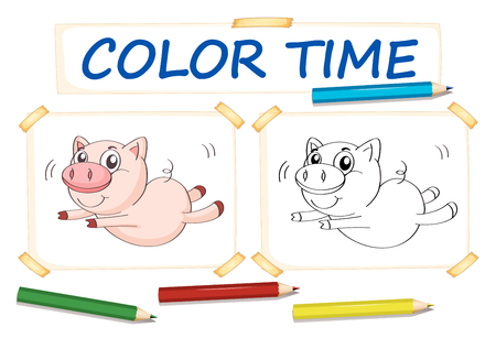 assignments: Coloring template with cute pig illustration Illustration