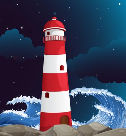 ocean waves: Lighthouse building on the coast illustration Illustration