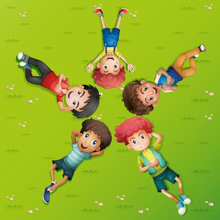 ly: Five boys lying on green grass illustration