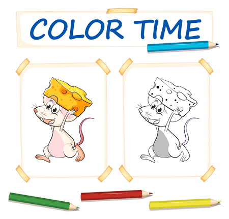 Coloring template with mouse and cheese illustration