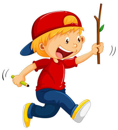 thrilled: Boy running with stick and pencil in hands illustration