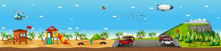 Scene with playground on the beach illustration
