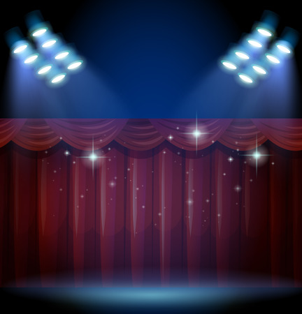 theatrical performance: Stage with red curtain and many lights illustration