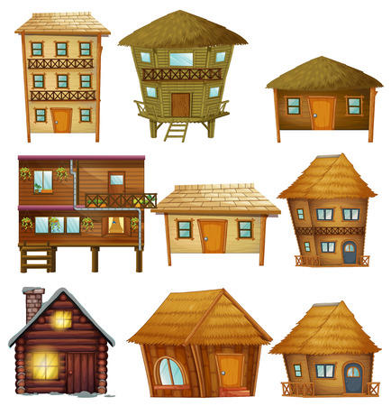 Different designs of wooden cabins illustration