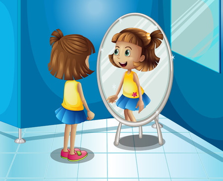 Happy girl looking at the mirror in bathroom illustration