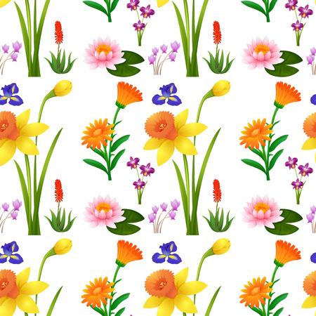 calendula: Seamless background design with wild flowers illustration