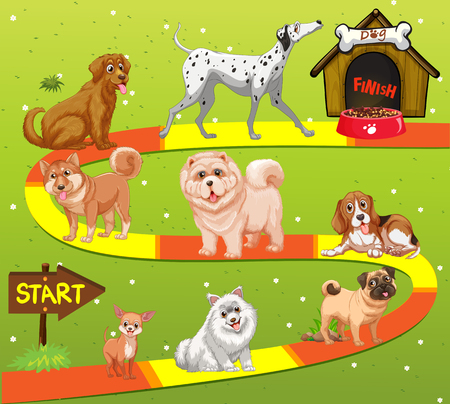 doghouse: Game template with many dogs in the field illustration