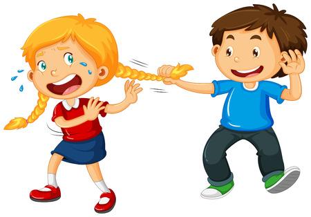 Chłopiec ciągnąc włosy dziewczyny ilustracji