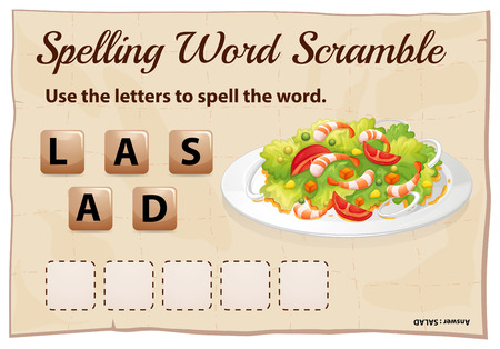 childrens food: Spelling word scramble game template with word salad illustration