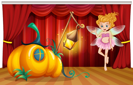 fantacy: Fairy flying around pumpkin house on stage illustration Illustration